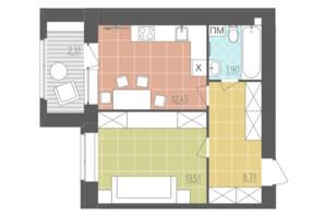ЖК Абрикос: планировка 1-комнатной квартиры 40.88 м²