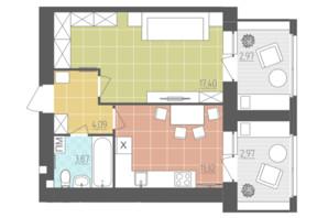 ЖК Абрикос: планировка 1-комнатной квартиры 42.62 м²