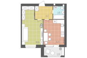 ЖК Абрикос: планировка 1-комнатной квартиры 45.47 м²