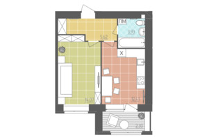 ЖК Абрикос: планировка 1-комнатной квартиры 38.33 м²