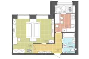 ЖК Абрикос: планировка 2-комнатной квартиры 49.82 м²