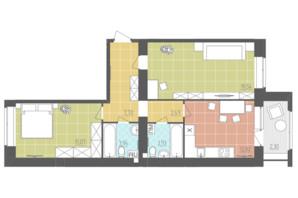 ЖК Абрикос: планировка 2-комнатной квартиры 67.79 м²