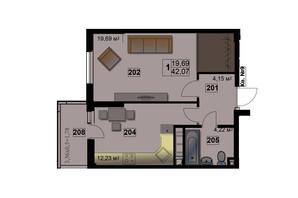 ЖК Абрикос: планировка 1-комнатной квартиры 42.07 м²