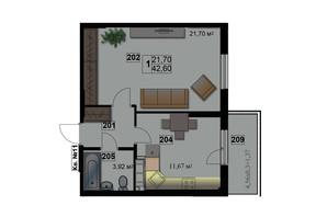ЖК Абрикос: планировка 1-комнатной квартиры 44 м²