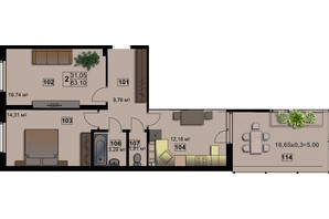 ЖК Абрикос: планировка 2-комнатной квартиры 64.7 м²