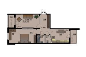 ЖК Абрикос: планировка 2-комнатной квартиры 66.74 м²