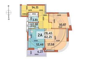 ЖК Абрикосовый: планировка 2-комнатной квартиры 62.21 м²