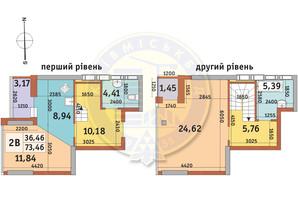 ЖК Абрикосовый: планировка 2-комнатной квартиры 73.46 м²
