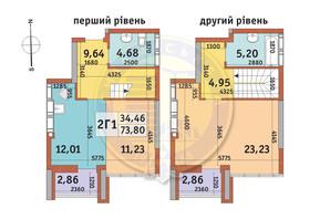 ЖК Абрикосовый: планировка 2-комнатной квартиры 73.8 м²