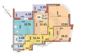 ЖК Абрикосовый: планировка 3-комнатной квартиры 75 м²