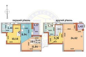 ЖК Абрикосовий: планування 2-кімнатної квартири 73.46 м²