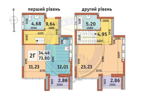 ЖК Абрикосовий: планування 2-кімнатної квартири 73.8 м²