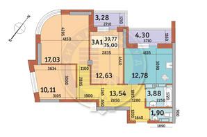 ЖК Абрикосовий: планування 3-кімнатної квартири 75 м²