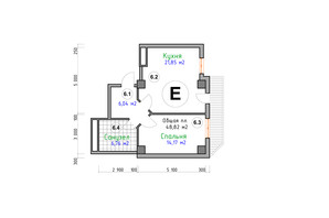 ЖК Адмірал: планування 1-кімнатної квартири 48.82 м²