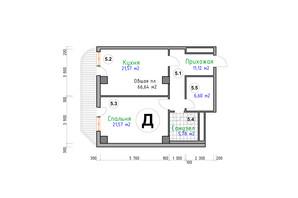 ЖК Адмірал: планування 1-кімнатної квартири 66.64 м²