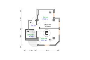 ЖК Адмірал: планування 1-кімнатної квартири 62.83 м²