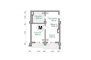 ЖК Адмірал: планування 1-кімнатної квартири 60.48 м²