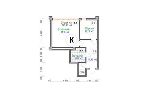 ЖК Адмірал: планування 1-кімнатної квартири 51 м²