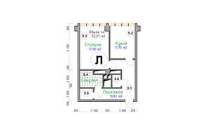 ЖК Адмірал: планування 1-кімнатної квартири 52.27 м²