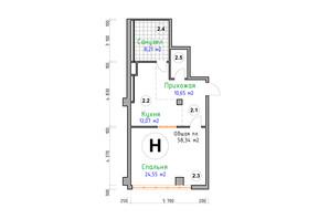 ЖК Адмірал: планування 1-кімнатної квартири 58.34 м²