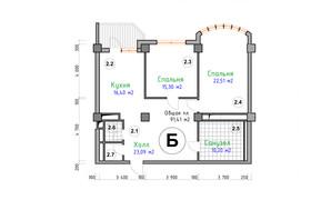 ЖК Адмірал: планування 2-кімнатної квартири 91.41 м²