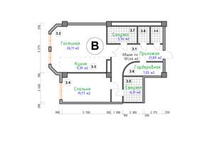 ЖК Адмірал: планування 2-кімнатної квартири 101.46 м²