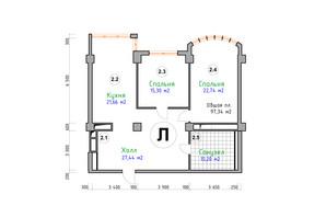 ЖК Адмірал: планування 2-кімнатної квартири 97.34 м²
