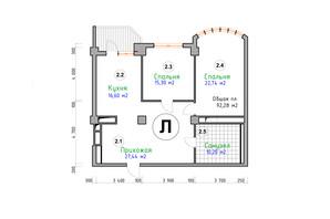 ЖК Адмірал: планування 2-кімнатної квартири 92.28 м²