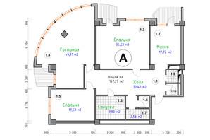 ЖК Адмірал: планування 3-кімнатної квартири 167.27 м²