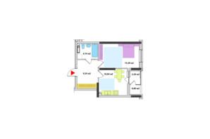 ЖК Академ-Квартал: планировка 1-комнатной квартиры 43.39 м²