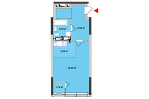 ЖК Академ-Квартал: планировка 1-комнатной квартиры 33.9 м²