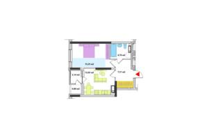ЖК Академ-Квартал: планировка 1-комнатной квартиры 42.48 м²