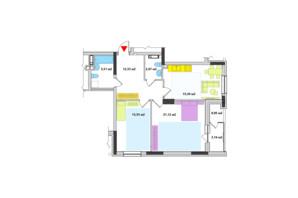 ЖК Академ-Квартал: планировка 2-комнатной квартиры 74.59 м²