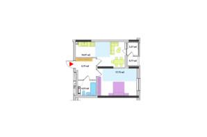 ЖК Академ-Квартал: планування 1-кімнатної квартири 47.82 м²