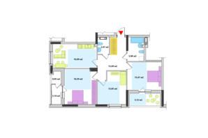 ЖК Академ-Квартал: планування 3-кімнатної квартири 93.39 м²
