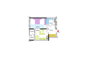 ЖК Академ-Квартал: планування 1-кімнатної квартири 42.48 м²