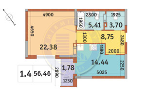 ЖК «Академ Парк»: планировка 1-комнатной квартиры 56.46 м²