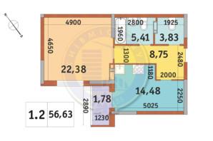 ЖК «Академ Парк»: планировка 1-комнатной квартиры 56.63 м²