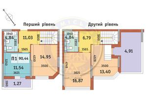 ЖК Академ Парк: планировка 3-комнатной квартиры 90.44 м²