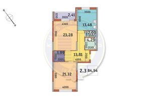 ЖК Академ Парк: планування 2-кімнатної квартири 84.54 м²