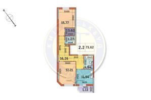 ЖК Академ Парк: планування 2-кімнатної квартири 73.62 м²