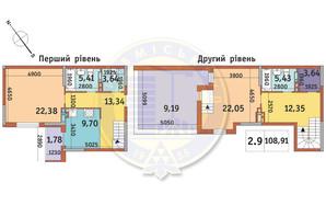 ЖК Академ Парк: планування 2-кімнатної квартири 108.91 м²