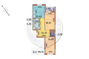 ЖК Академ Парк: планування 2-кімнатної квартири 66.72 м²