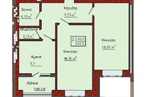 ЖК Академ містечко: планування 2-кімнатної квартири 64.65 м²