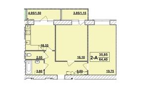 ЖК Академ містечко: планування 2-кімнатної квартири 64.4 м²