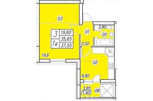 ЖК Аквамарин: планування 1-кімнатної квартири 37.55 м²