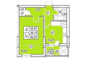 ЖК Аквамарин: планування 1-кімнатної квартири 40.55 м²