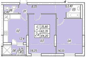 ЖК Аквамарин: планування 2-кімнатної квартири 64.2 м²