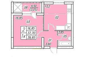 ЖК Аквамарин: планування 1-кімнатної квартири 39.95 м²