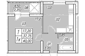 ЖК Аквамарин: планування 1-кімнатної квартири 40 м²